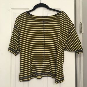 Tops - Striped blue and yellow boxy tee